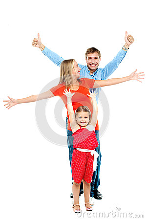 Happy smiling family of three having fun