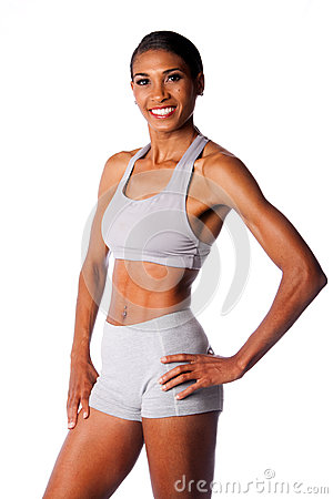 Happy smiling female athlete