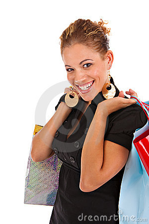 Happy smiling female shopper