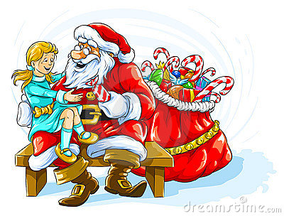 Happy smiling girl with Santa Claus
