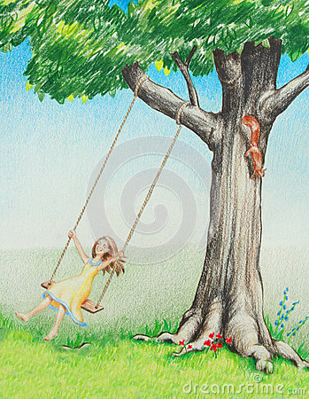 Happy smiling girl swinging on tree in nature