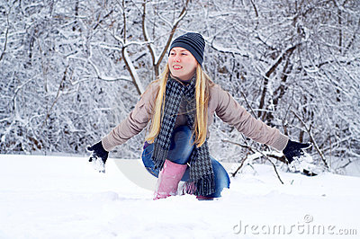 Happy smiling girl in winter