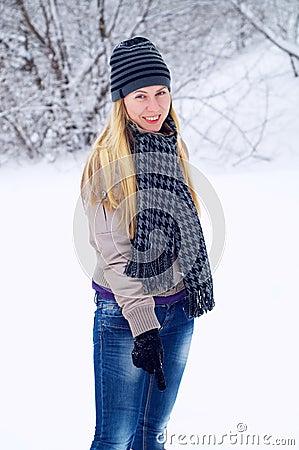 Happy smiling girl in winter