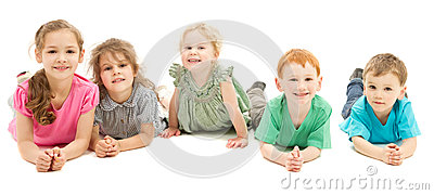 Happy smiling group of kids on floor