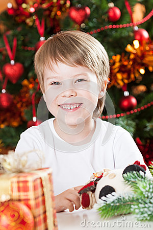 Happy smiling kid in Christmas