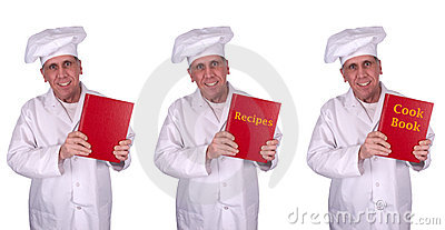Happy Smiling Male Chef Recipes Cook Book Isolated