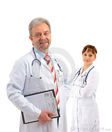 Happy smiling mature doctor writing on clipboard
