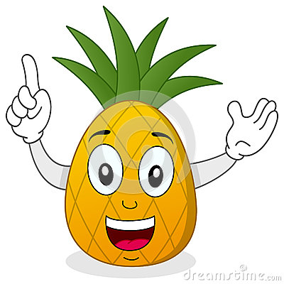 Happy Smiling Pineapple Character