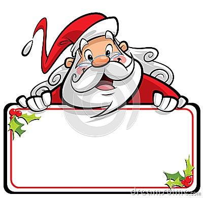 Happy smiling Santa Claus cartoon character presenting message o