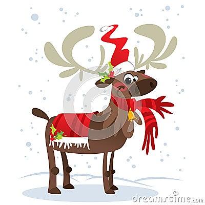 Happy smiling Santa Claus reindeer cartoon character with mistle