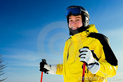 Happy smiling skier