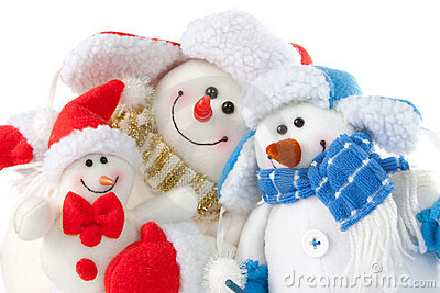Happy smiling snowman family