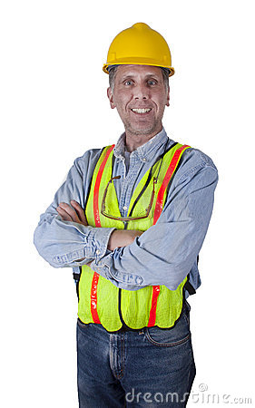 Happy Smiling Union Construction Worker Man