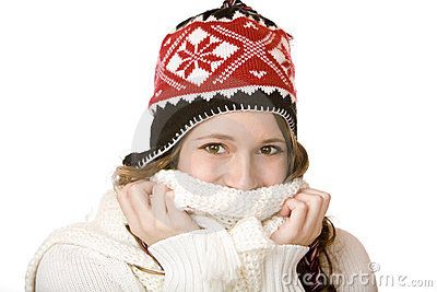 Happy smiling woman with cap and scarf