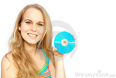 Happy smiling woman, CD disc