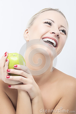 Happy Smiling Woman Dieting with Green Apple. Healthy Lifestyle, Stock Photo