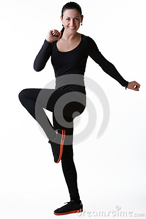 Free Happy Smiling Woman Doing Sport Exercises Stock Images - 30271144
