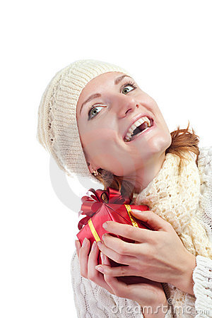 Happy smiling woman with gift