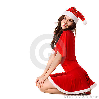 Free Happy Smiling Woman In Red Xmas Costume Stock Photos - 17244133
