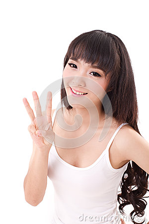 Free Happy, Smiling Woman Raising, Pointing Her Three Finger Up, Without Thumb Stock Photography - 50880962