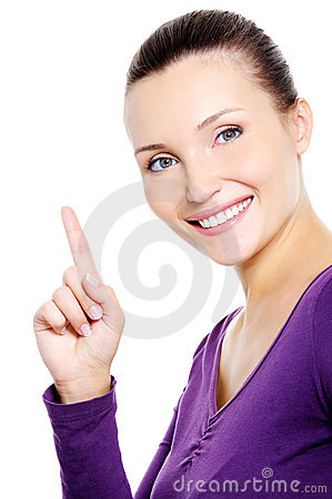 Happy smiling woman showing index finger