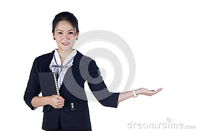 Happy smiling young business woman