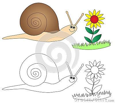 Happy snail & flower