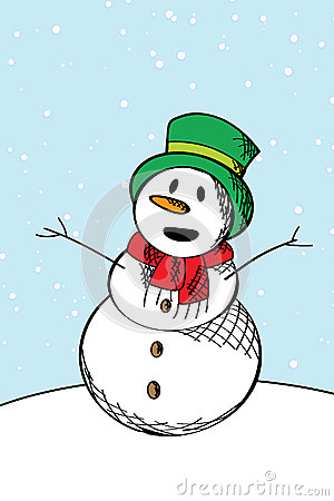 Happy snow man sketch