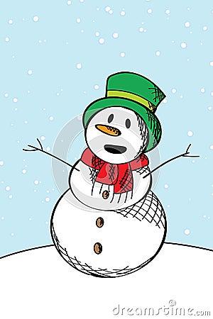 Happy snow man sketch