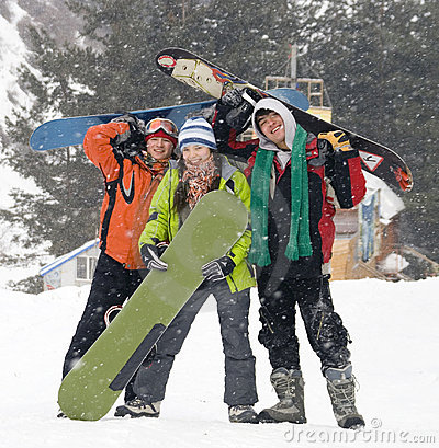 Free Happy Snowboarding Team, Health Lifestyle Royalty Free Stock Image - 4197956