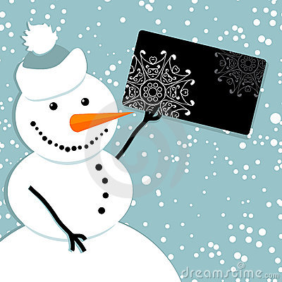 Happy snowman with credit card, christmas shopping