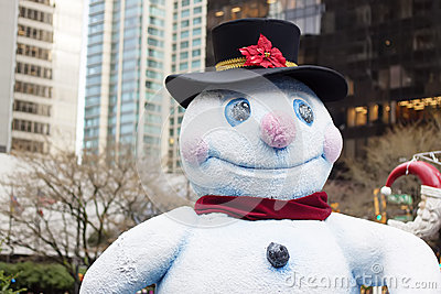 Happy snowman in downtown vancouver