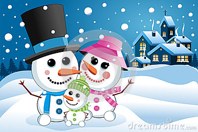 Happy Snowman Family under Snowfall