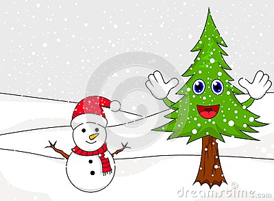 Happy snowman with spruce cartoon