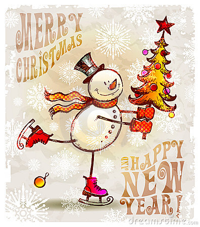 Free Happy Snowman With Christmas Tree Stock Photography - 16091112