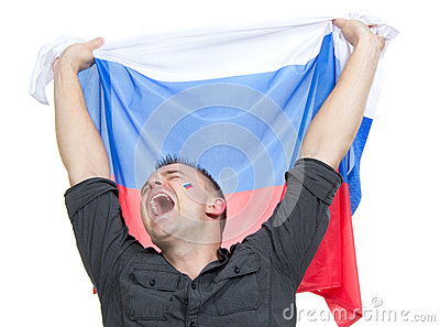 Happy soccer fan with russian national flag