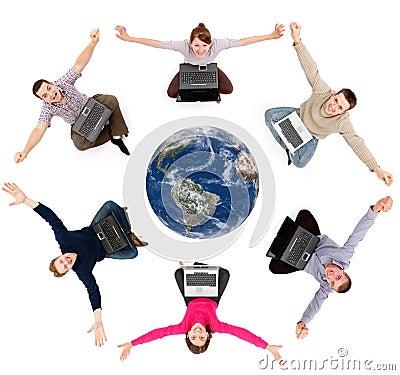 Happy social network members around the globe