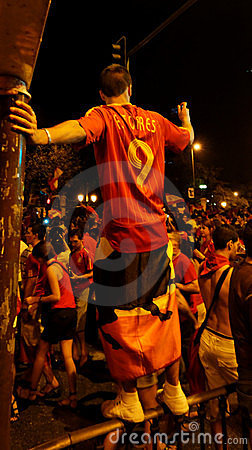 Happy spain fans Editorial Stock Image