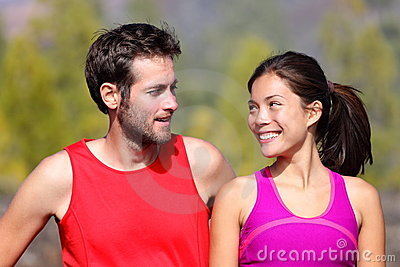 Happy sporty couple portrait