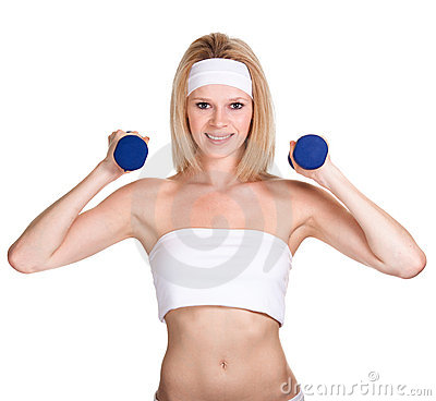 Happy sporty woman with a dumbbell