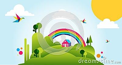 Happy spring time landscape illustration