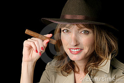 Happy Spy Lady With Cigar
