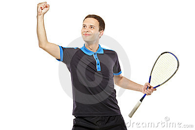 A happy squash player celebrating a score