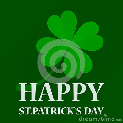 Happy st Patrick day. Green clover leaf Stock Photo