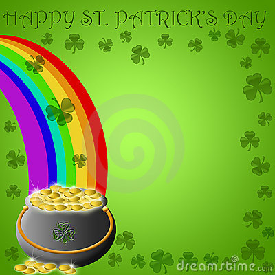 Free Happy St Patricks Day Pot Of Gold End Of Rainbow Stock Photo - 17768500