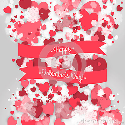 Free Happy St. Valentine S Day! Abstract Background With Ribbon And Flying Snowflakes And Hearts To The Day Of St. Valentine. Stock Photography - 65600642