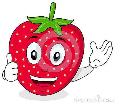 Happy Strawberry Thumbs Up Character