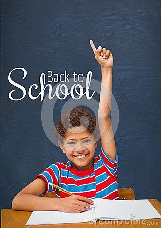 Free Happy Student Boy At Table Raising Hand Against Blue Blackboard With Back To School Text Stock Photography - 97788912