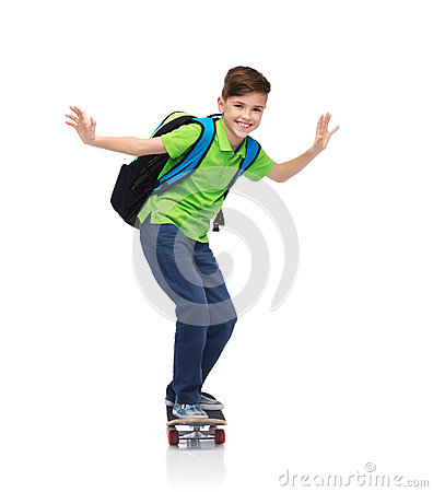 Free Happy Student Boy With Backpack And Skateboard Royalty Free Stock Image - 62889696