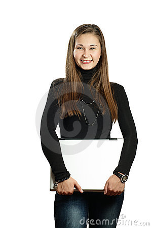 Happy student girl with laptop